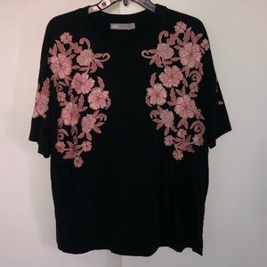 ASOS black T-shirt with pink embroidered flowers